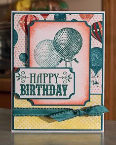 Hot Air Balloons Birthday Card using Stampin Up YOU'RE AMAZING and World Spectacular DSP