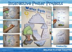 Interactive Water Cycle Poster by Not Your Average Classroom Science Fair Projects, Science Experiments Kids, Science Activities, School Projects, Interactive Poster, Interactive Display, Interactive Notebooks, School Posters, Classroom Posters