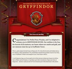 Pottermore Gryffindor Welcome Letter