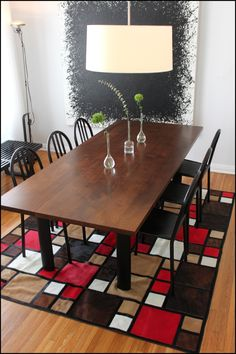 """Mondrian inspired """"Red Squares"""" Hair on Hide Rug, designed by Mike Ragan"""