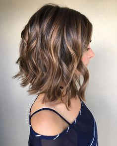 Choppy bob #haircut with caramel highlights. #caramel #highlights on #choppy #bob