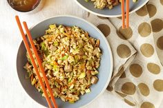 Cooking a pork tenderloin for two is a great idea. Enjoy half tonight, then use the leftovers to make this delicious fried rice dish tomorrow. Kraft Recipes, Rice Recipes, Pork Recipes, Asian Recipes, Chicken Recipes, Ethnic Recipes, Yummy Recipes, What's Cooking, Cooking Recipes