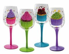 "Sweet Escape,Handpainted Wine Glass 12 oz,Glass,3.5x8.75 Inches,Assorted 4 by Cypress Home. $59.99. The size is: 3.5""x8.75"". Packaged in attractive gift box. Perfect gift for the wine enthusiast. Hand wash only. 4 Assortment Hand-painted clear wine glass. Sweet and unexpected just like you, these hand-painted wine glasses are charming. The cupcakes decorating these glasses are dotted with sprinkles and swirled with sweet, luscious frosting. In soft pastel colors, they are ey..."