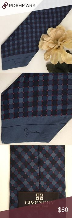 """Givenchy Men's Silk Blue & Red Signature Silk Tie Very good pre owned. 100% silk. Signature logo  3.5"""" width, 60"""" length Givenchy Accessories Ties"""