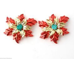Poinsettia Earrings Red Green Metal Christmas Jewelry Winter Flower Holiday Gift #DavenportDesigns #Stud