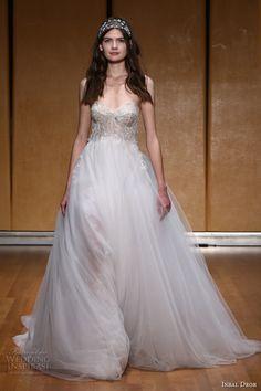 inbal dror 2017 bridal strapless sweetheart neckline bustier heavily embellished bodice tulle skirt romantic princess pretty a  line wedding dress (029) mv