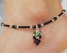 Anklet, Ankle Bracelet, Grape Cluster Charm, Purple, Crystal, Czech Glass