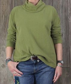 Pure J Jill M L size Top Green Cowl Neck Soft Velour Womens Casual Comfy Top