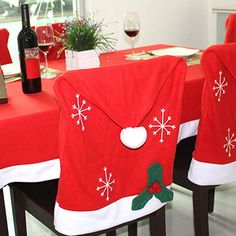 Christmas Kitchen Chair Back Covers Three Different Styles Best throughout size 1199 X 1500 Santa Claus Chair Cover Pattern - A dining area chair cover can Christmas Chair Covers, Christmas Cover, Chair Back Covers, Dining Chair Covers, Merry Christmas, Christmas Snowflakes, Christmas Time, Christmas Ideas, Yoshi