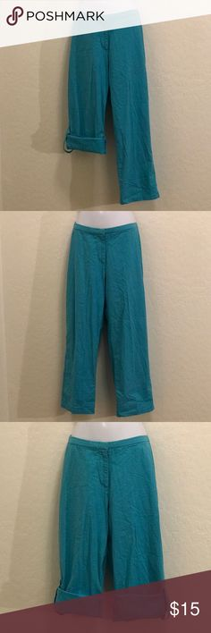 Teal Blue Cuff Cropped Capris Pants 2 Pants in One, Wear them Long or Cuffed. Stretch, Snap Zipper Front. Pants Capris