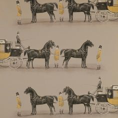 Aranjuez Fabric Cotton sateen in light brown printed with black and mustard carriages being pulled by black horses with their handlers in mu...