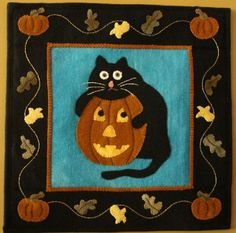 Scaredy Cat Wool Applique Pattern--for my mom @Patricia Smith Bennett