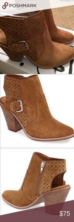 Dolce Vita Stacked Heel Bootie. Western Inspired. Starry perforations adorn the soft supple suede upper on this comfortable stacked heel. Worn few times. Comes w original box. Dolce Vita Shoes Ankle Boots & Booties