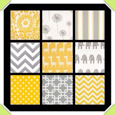 Grey and yellow crib bedding
