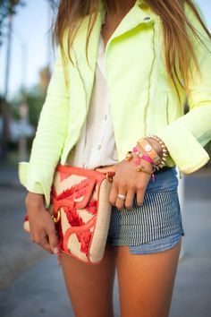 Cute lime jacket.  Very well accessorized,