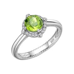 August Birthstone Ring by LAFONN with Genuine Peridot & Simulated Diamonds set in Platinum-Bonded Sterling Silver, MSRP $140.