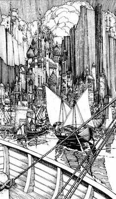 Fabled City in a Fabled Land. Fantasy Landscape, Landscape Art, Fantasy Art, Fantasy Places, Sword And Sorcery, Fantasy Setting, Black And White Illustration, True Art, Ink Illustrations