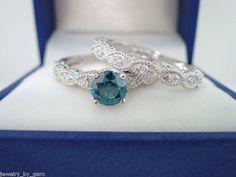 14K White Gold Blue & White Diamond Engagement Ring Wedding Band Sets 0.77 Carat Handmade