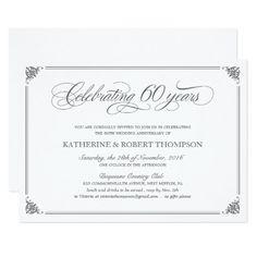 Formal 60th Anniversary Invitations Pearl Anniversary, Parents Anniversary, Anniversary Pictures, 7th Wedding Anniversary