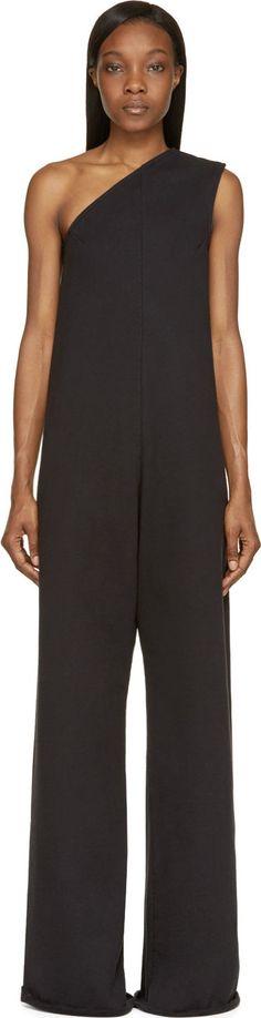 Vetements - Black Off-Shoulder Wide Leg Jumpsuit