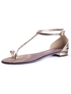 DILIGO GOLD DIAMANTE BUHLE THING SANDAL Flat Sandals, Flats, Summer Shoes, Summer Sandals, Shoe Closet, Designer Shoes, Kitten Heels, Footwear, My Style