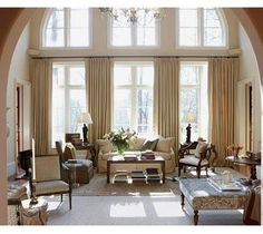 High ceiling window treatment on pinterest high ceilings High ceiling curtain ideas