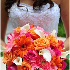 Gerbera daisy bouquet I love this!! It just needs to be purple teal and green :)
