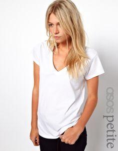 Image 1 ofASOS PETITE T-shirt With V Neck