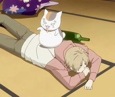 Natsume Yuujinchou ~~ Nyanko-sensei Natsume ... the yokai-neko is mean when he's drunk. ^_^