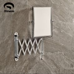 (47.61$)  Buy here  - New Chrome Brass Frame Foldable Wall Mount Make Up Mirror Square Beauty Mirror