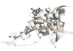 (in collaboration with Kostas Tsoklis Xydakis) Landscape Architecture Design, Architecture Graphics, Architecture Old, Architecture Portfolio, School Architecture, Architecture Details, Architectural Thesis, Architectural Drawings, Perspective Images