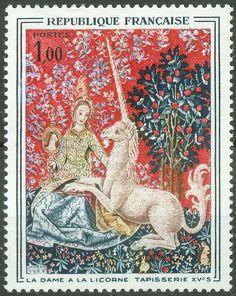 France 1964, Art Tapestry Lady & the Unicorn Tapestry Mi.# 1492, MNH [ref.b