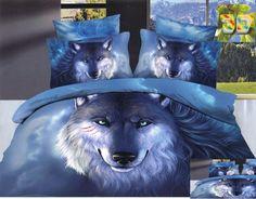 Pościel bawełniana w kolorze niebieskim z wilkiem