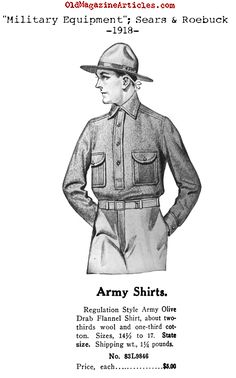 The Shirt (Sears and Roebuck, Army Shirts, Uniform Shirts, Ww1 Soldiers, Wwi, Us Army Uniforms, Motorcycle Wear, Military Equipment, Magazine Articles, World War One