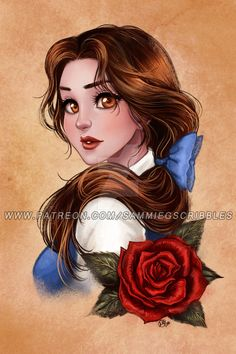 Patreon reward- Beauty and the Beast by Roots-Love on DeviantArt - Disney characters Princesses Disney Belle, Disney Princess Drawings, Disney Princess Art, Disney Princess Pictures, Disney Fan Art, Disney Drawings, Drawing Disney, Drawings Of Belle, Belle Drawing