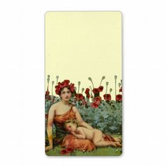 Art Nouveau Mother and Child with Poppies Custom Shipping Label