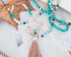 Amazonite, avanturine & jade 108 mala beads necklace, antique charms, swarovski crystals, silk tassel, yoga gift, meditation