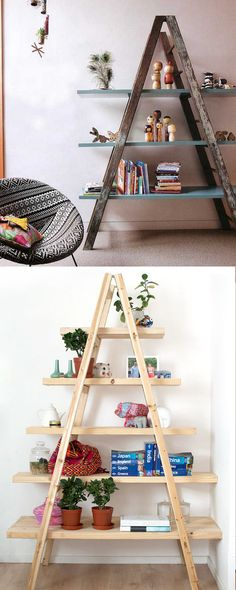 18 inspiring ladder hacks for every room from farmhouse, vintage, to modern. How to build blanket ladders, ladder shelves and furniture!