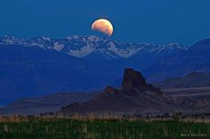 Eclipsed moon over Wyoming.