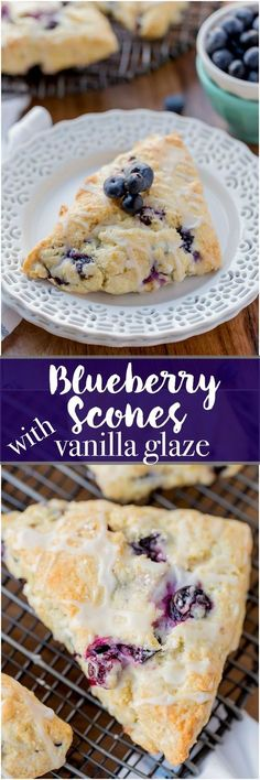 Blueberry Scones with Vanilla Glaze are perfect for a quick grab and go breakfast. They're crunchy around the edges but moist in the center. Topped with a vanilla glaze to give them a bit of sweetness. #scones #dessert #blueberries #easy #quick #delicious