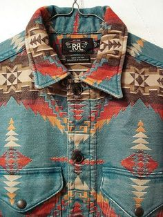denim x coffee — Aztec shirt by RRL. Mode Country, Aztec Shirt, Aztec Jacket, Blanket Jacket, Indian Blankets, Mein Style, Look Cool, Hippie Style, Well Dressed