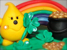 ST PATRICK'S Day RAINBOW & Pot of God Polymer Clay by KatersAcres --- ADOPTED