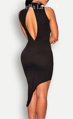 $22.99 Black Asymmetrical Mock Neck Mini Dress - Stella La Moda