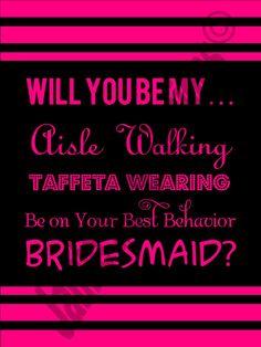 Will You Be My Bridesmaid Card DIY PrintReady by WeddingsByJamie
