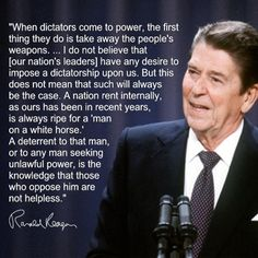 "Ronald Regan on Gun Control and Tyranny  ""You won't get gun control by disarming law-abiding citizens."""