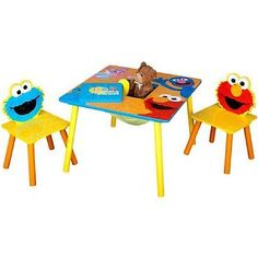 Kids Table And Chairs Set Sesame Street Bedroom Play Room Activities Toddler New