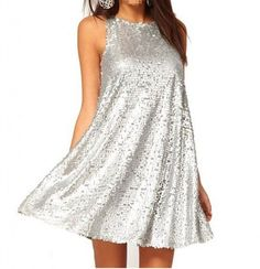 Cute silver sequin loose summer dress with high neckline 2015