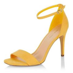 New Look Yellow Suedette Ankle Strap Heeled Sandals ($26) ❤ liked on Polyvore featuring shoes, sandals, new look shoes, yellow sandals, ankle strap high heel sandals, high heel shoes and yellow shoes