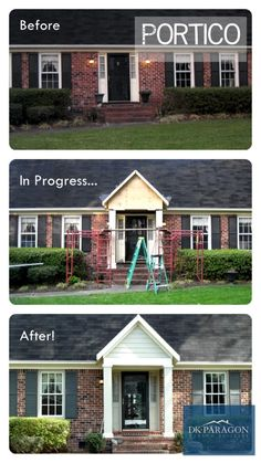 Adding a portico is a beautiful way to shade your front porch and add classic curb appeal to your home. Look at the difference!