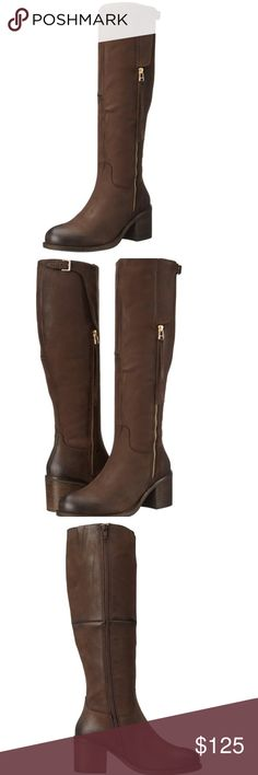 """⚡️NEW⚡️Steve Madden Boots Leather Imported Synthetic sole Shaft measures approximately 17"""" from arch Knee-length boot in distressed leather with three-quarter zip and adjustable buckle at calf Stacked block heel Full-length side zip at inner side Goring insert at calf Steve Madden Shoes Heeled Boots"""